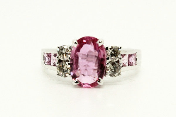 Pink Sapphire & Diamond Hot Cake Ring AD No. 0999