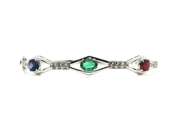 Ruby Emerald Sapphire & Diamond Bangle /Item code:BNG2