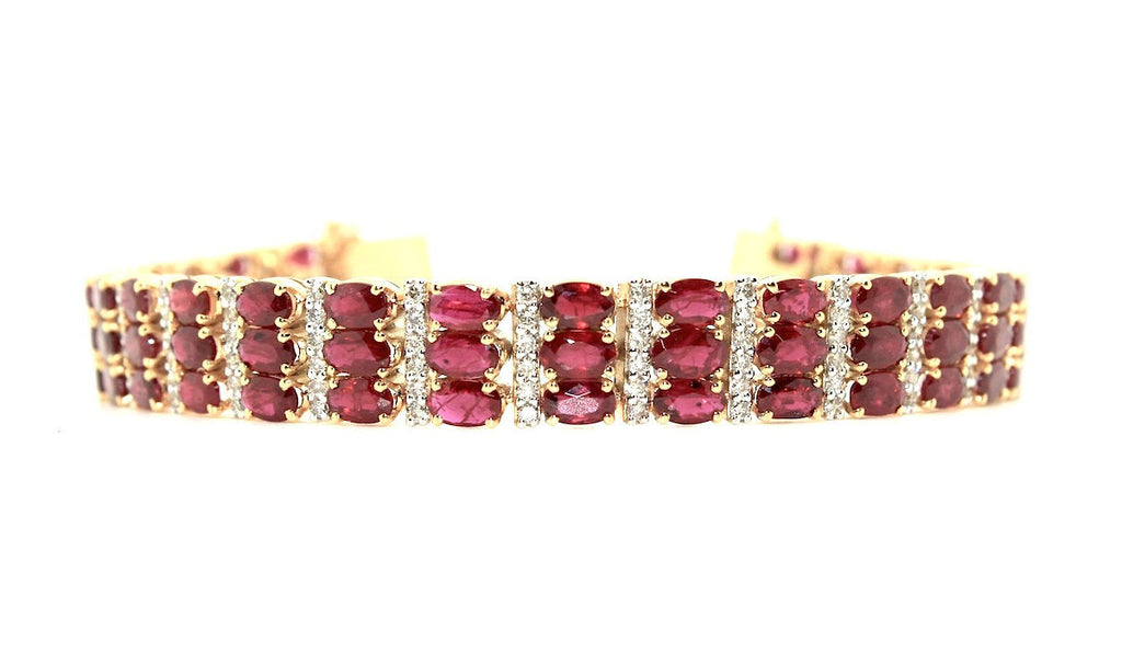Ruby And Diamond Triple Row  Bracelet/ Item code:BR 3