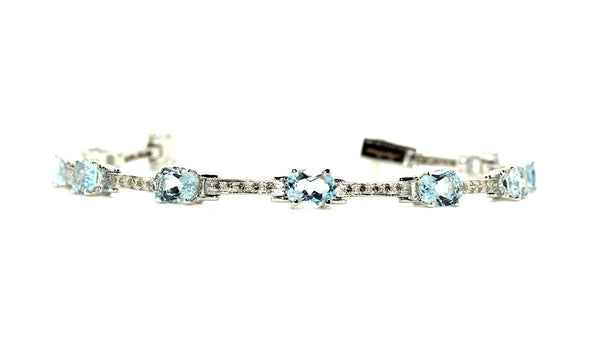 Aquamarine & Diamond Hot-cake Bracelet/ Item Code :BR 6