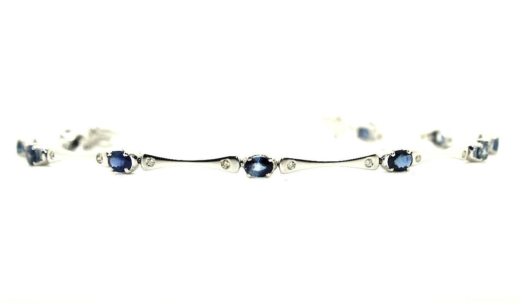 Blue Sapphire And Diamond Bone Bracelet Ad No.1118
