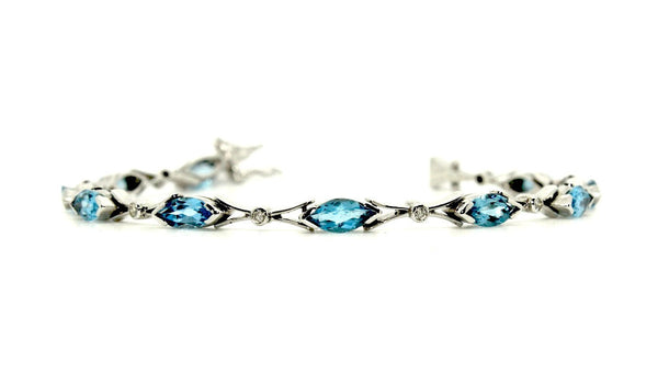 Blue Topaz And Diamond Marquise Bracelet Ad No.1116