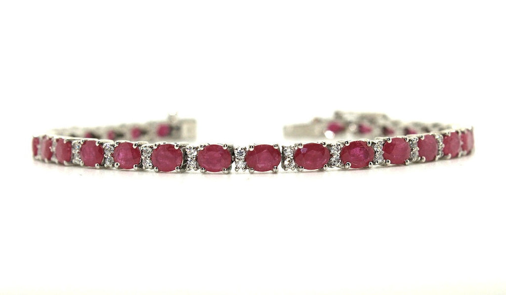 Ruby and Cubic Zirconia Bracelet in Sterling Silver