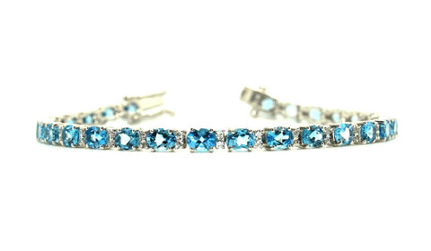 Blue Topaz and Cubic Zirconia Bracelet in Sterling Silver