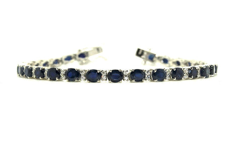Blue Sapphire and Cubic Zirconia Bracelet in Sterling Silver