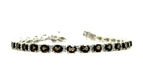 Smoky/Brown Quartz & Cubic Zirconia Bracelet in Sterling Silver