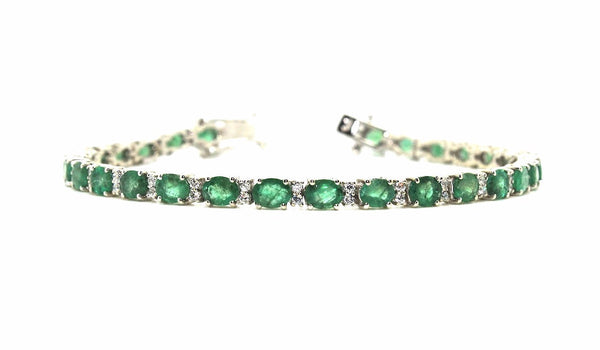 Emerald and Cubic Zirconia Bracelet in Sterling Silver