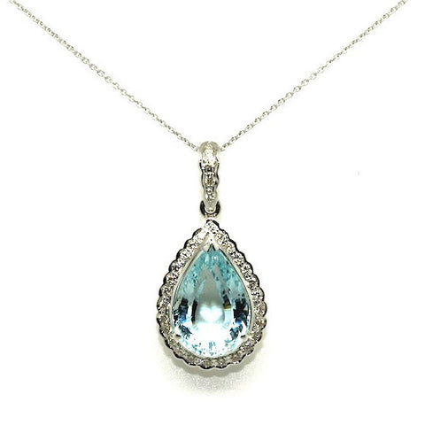 Aquamarine And Diamond  Drop Pendant/ Item Code: PN 11