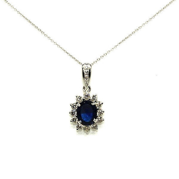 Blue Sapphire And Diamond Pendant AD No. 0620
