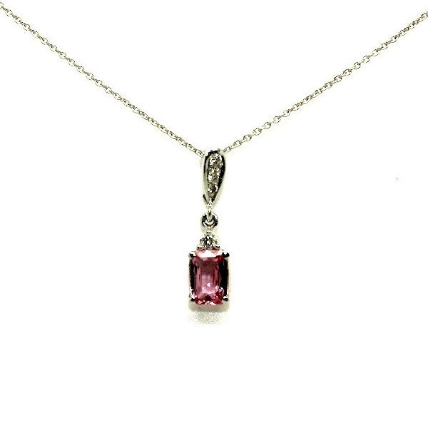 Pink Sapphire (Emd) And Diamond Classic Pendant AD No. 0583