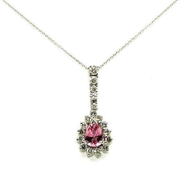 Pink Sapphire & Diamond Long Drop Pendant AD No. 0492