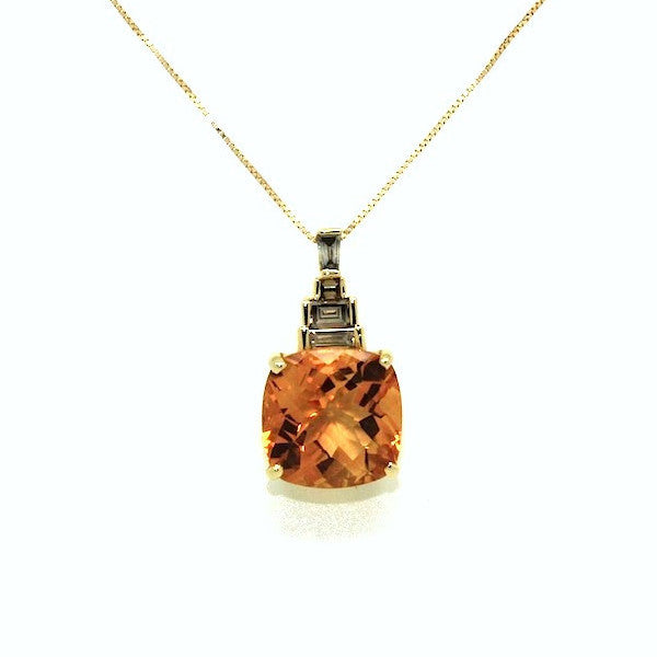 Citrine & Fancy Diamond Pendant AD No.0497