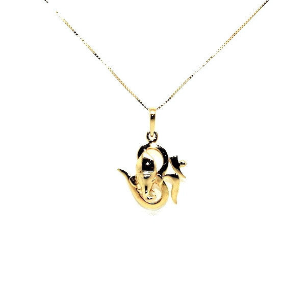 Om Plain Gold Pendant AD No. 0577