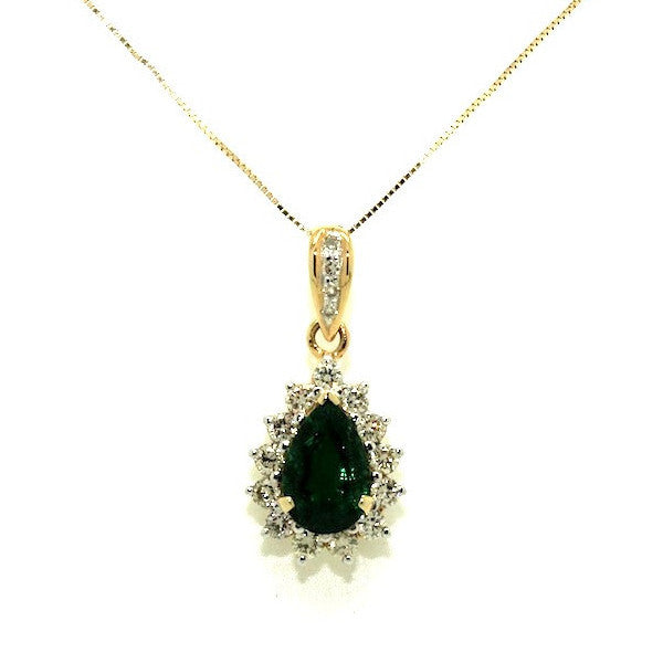 Emerald & Diamond Drop Pendant-clustered AD No. 0963