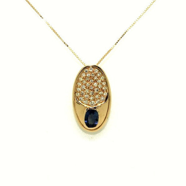 Blue Sapphire And Diamond O Pendant AD No. 0524