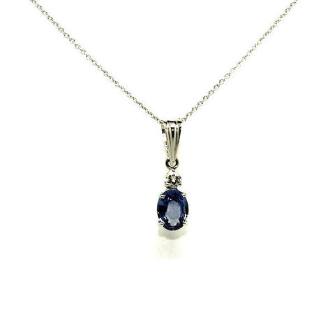 Blue Sapphire And Diamond Classic Pendant AD No. 0507