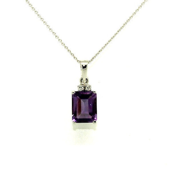 Amethyst And Diamond Simple Pendant AD No. 0798