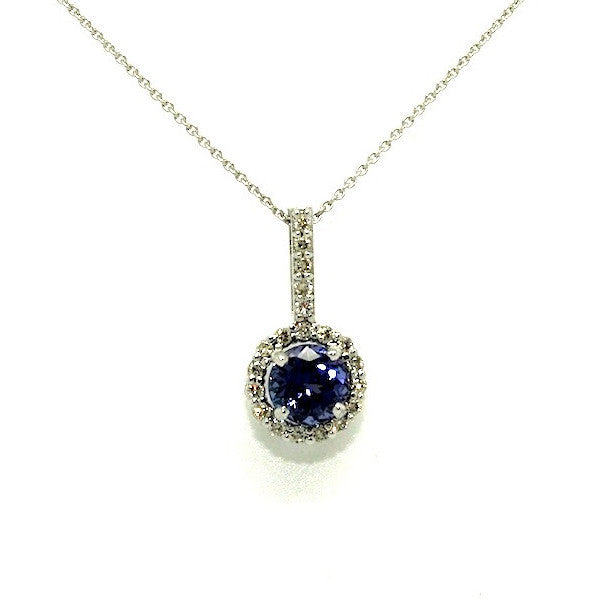 Tanzanite And Diamond Round Halo Pendant AD No. 1004