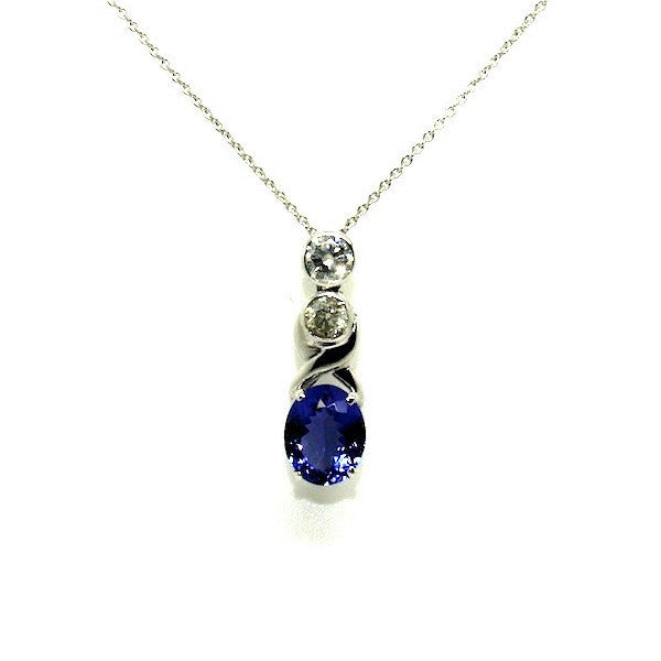 Tanzanite & Bezel Diamond X Pendant AD No. 0766