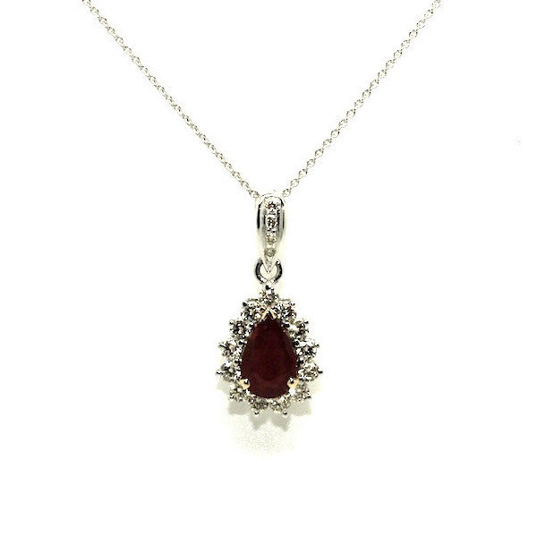 Ruby & Diamond Drop Pendant-clustered Ad No. 0965