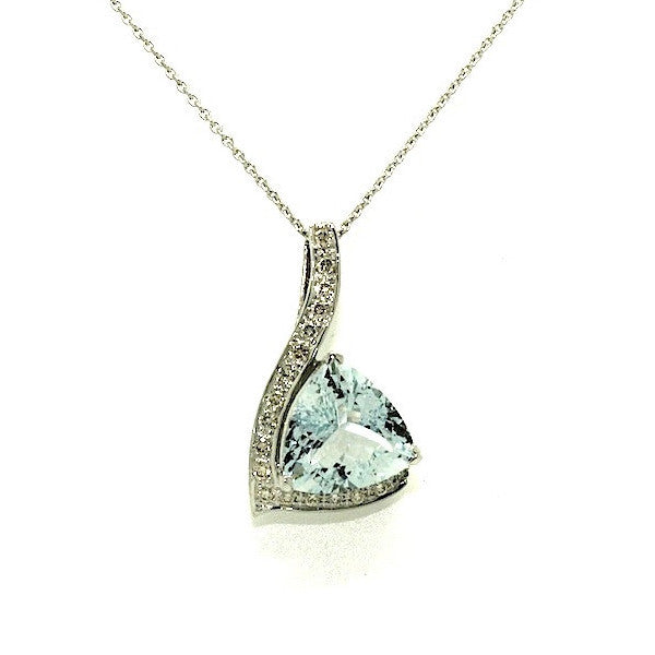 Aquamarine And Diamond Trillian  Pendant AD No. 0858