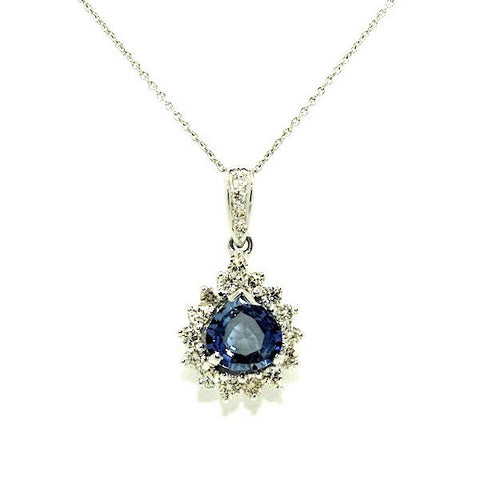 Ceylon Sapphire & Diamond Drop Pendant-clustered AD No. 0751