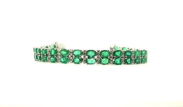 Emerald & Diamond Double Row Bracelet/ Item Code: BR 7