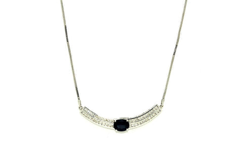 Blue Sapphire & Diamonds Necklace AD No.0630
