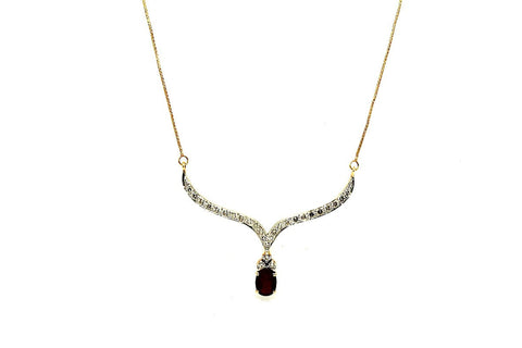 Ruby & Diamond Drop Necklace AD No.0679
