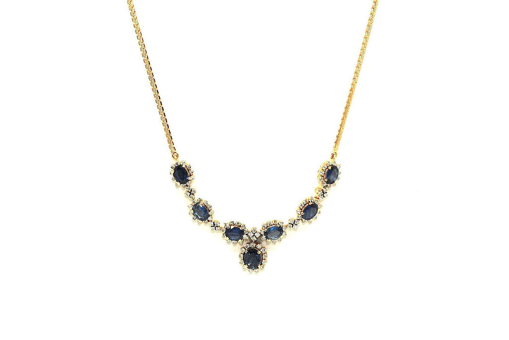 Blue Sapphire And Diamond 7 Stone Cluster Necklace Ad No.0649