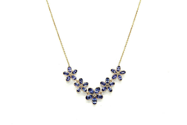 Tanzanite And Diamond Flower Necklace