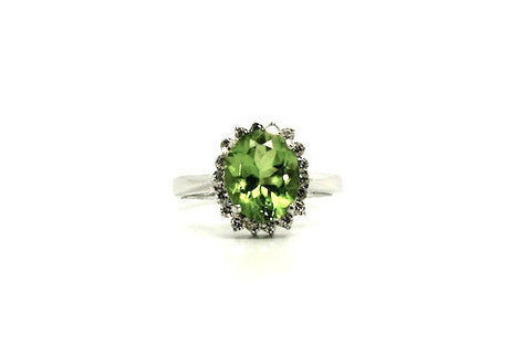 Peridot & Diamond Halo Ring AD No. 1053