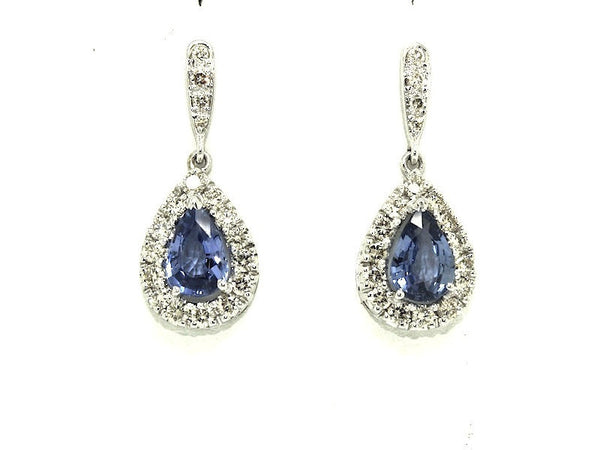 Large Blue Sapphire(ceylon)Diamond Cluster Drop Earring Ad No. 1021