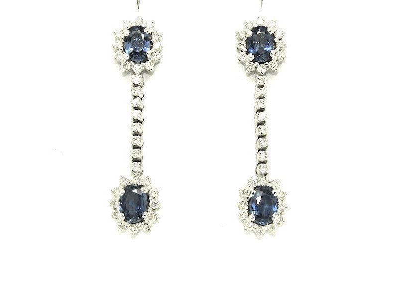 Halo Blue Sapphire And Diamond Dangle Earring Ad No. 0793