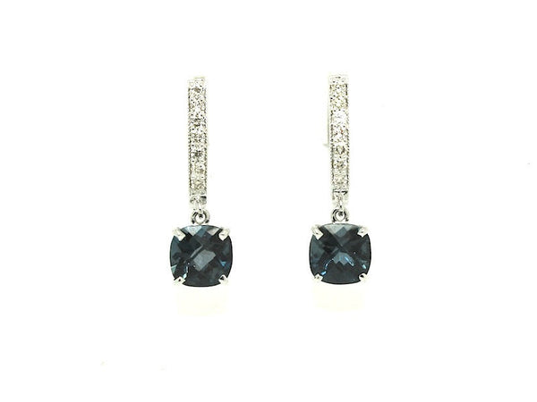Cushion London Blue Topaz Diamond Hoop Drop Earring AD No. 1091