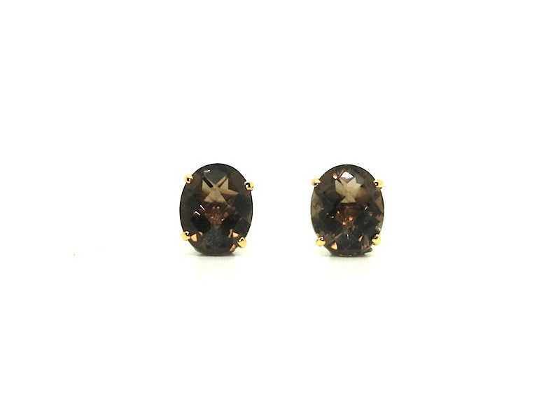 Checkerboard Smoky Topaz 4 Prong Studs AD No. 1080