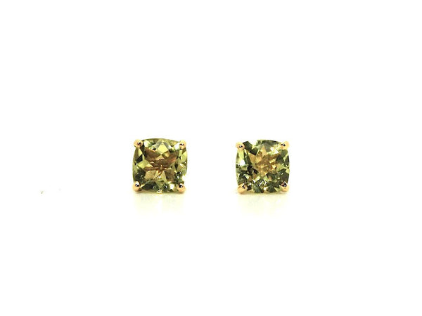 Cushion Checkerboard Lemon Citrine Studs AD No. 1081