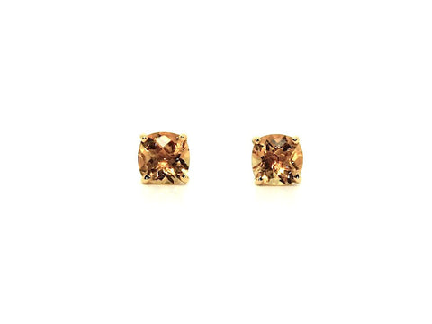 Cushion Checkerboard Citrine Studs AD No. 1083