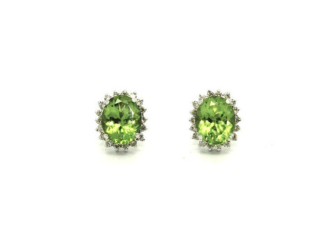 Peridot And Diamond Cluster Earring Ad No. 0796