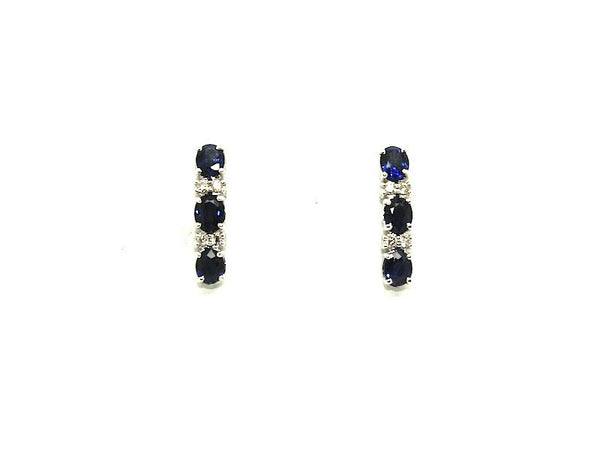 Blue Sapphire & Diamond 3-stone Earrings Ad No.0983