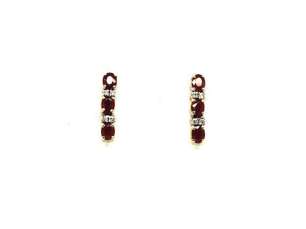 Ruby & Diamond 3-stone Earrings