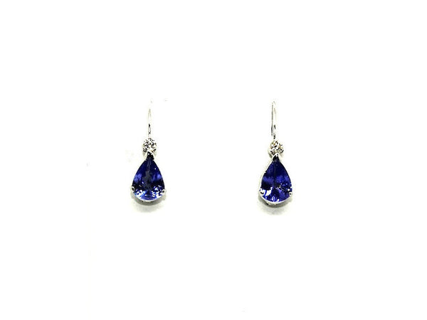 Tanzanite & Diamond Euro Wire Drop Earrings