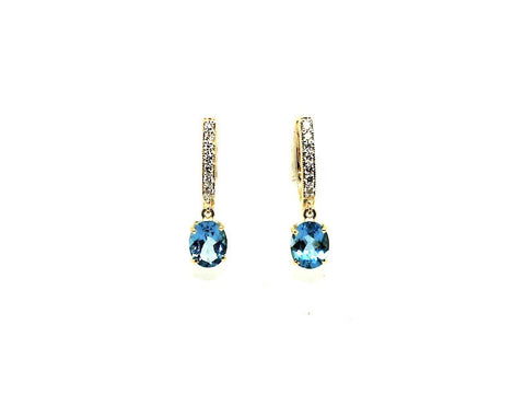 Oval Blue Topaz Diamond Hoop Drop Earring AD No. 1089