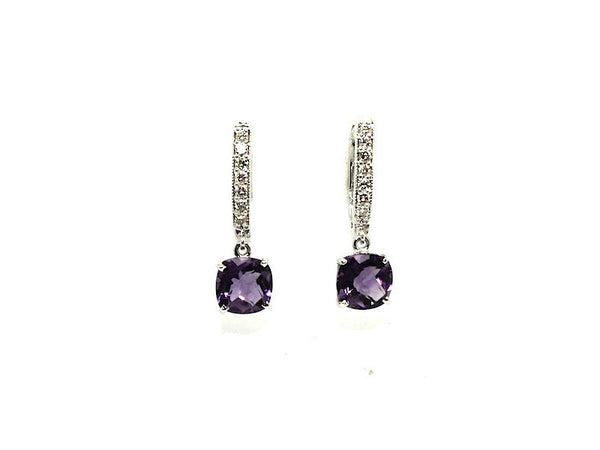 Cushion Amethyst Diamond Hoop Drop Earring AD No. 1092
