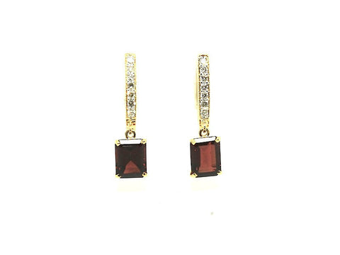 Emd Garnet Diamond Hoop Drop Earring AD No. 1090