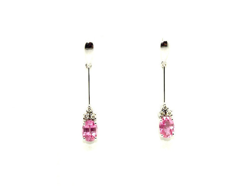 Pink Sapphire And Diamond Stick Drop Earring Ad No. 0786