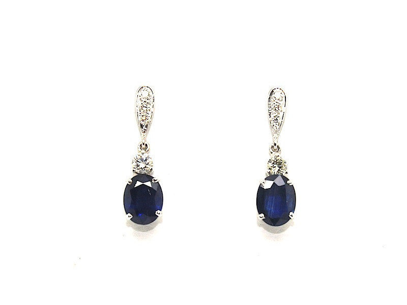 Classic Blue Sapphire And Diamond Drop Earring Ad No. 0994