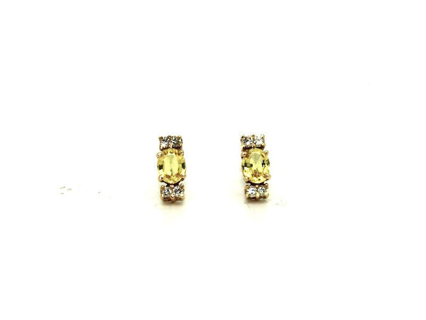 Yellow Sapphire And Diamond Stud Ad No.062 (5/4mm)