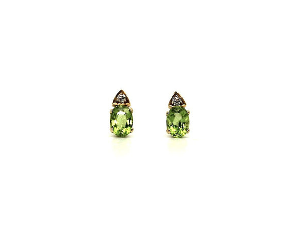 Peridot And Diamond Stud Ad No.0707 (5/7mm)