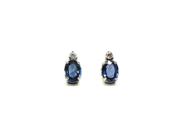 Blue Sapphire And Diamond Classic Stud Ad No. 0868 (6/8mm)